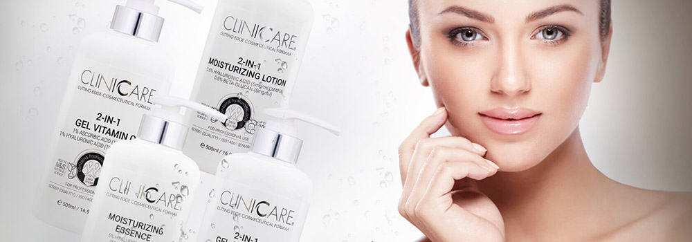 ClinicCare products and person who has used them for a facial